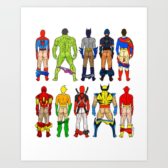Superhero Butts Kunstdrucke