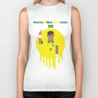 neymar Biker Tanks featuring Neymar Brazil Illustration Print by Gary  Ralphs Illustrations