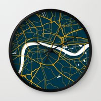 london map Wall Clocks featuring London Map by Studio Tesouro