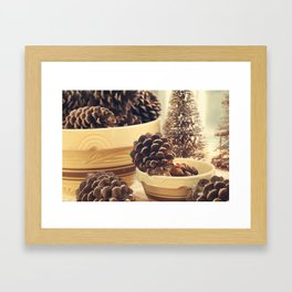 pinecones in yellow ware Framed Art Print