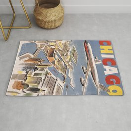 Vintage Chicago Poster Rug