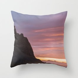 Sunrise at Stokksnes mountain beach in Iceland - Landscape Photography Throw Pillow