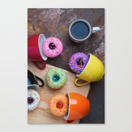 Fancy donuts with black coffee Canvas Print