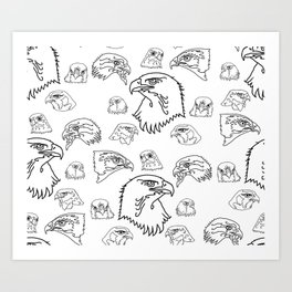 Birds of Prey - black on white Art Print
