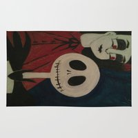 jack skellington Area & Throw Rugs featuring Jack Skellington and Girl by Kathead Tarot/David Rivera