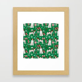 Brittany Spaniel christmas pattern dog breed presents stockings candy canes Framed Art Print