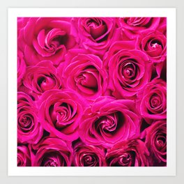 Romantic Pink Purple Roses Pattern Art Print