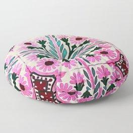 Pink Morrocan tiles in watercolor Floor Pillow
