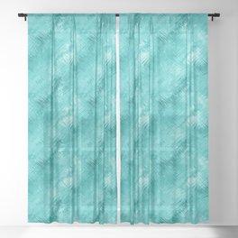 Cyan Crystal Glass Pattern Sheer Curtain