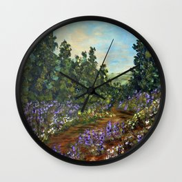 Mountain Wildflowers, Impressionism Landscape Painting Wall Clock