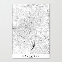 Nashville White Map Canvas Print