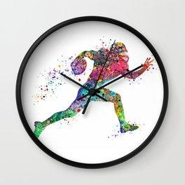 Football Player Sports Art Print Watercolor Print American Football Wall Clock