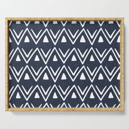 Etched Zig Zag Pattern in Navy Blue Serving Tray
