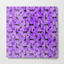Animal kingdom. Black silhouettes of wild animals. African giraffes, leopards, cheetahs. snakes, exotic tropical birds. Tribal primitive ethnic nature purple grunge distressed pattern. Metal Print