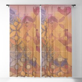 a piece of orange and purple Sheer Curtain
