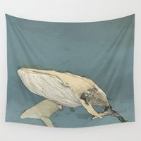whales Wall Tapestries featuring Whales by Mikael Biström