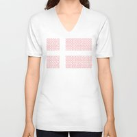 denmark V-neck T-shirts featuring digital Flag (Denmark) by seb mcnulty