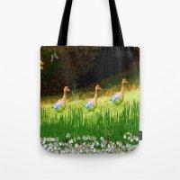 ducks Tote Bags featuring Ducks by Raffaella315