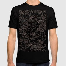 Pink coral tan black floral illustration pattern MEDIUM Mens Fitted Tee Black