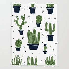 Cactus Plants Pattern- Green Poster