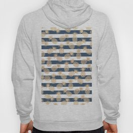 Nautical modern navy blue white stripes blush beige pineapple Hoody