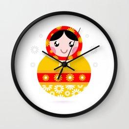 Handdrawn Matroska souvenir Wall Clock