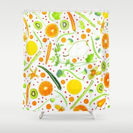Fruits and vegetables pattern (13) Shower Curtain