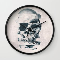 Glitch Skull Mono Wall Clock