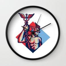 Mercury Holding Caduceus Staff Retro Wall Clock