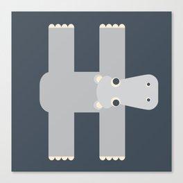 Letter H // Animal Alphabet // Hippo Monogram Canvas Print