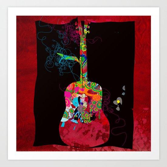 graphic guitar Art Print