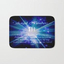 111 Angel Numbers Blue Motivational Affirmation Bath Mat