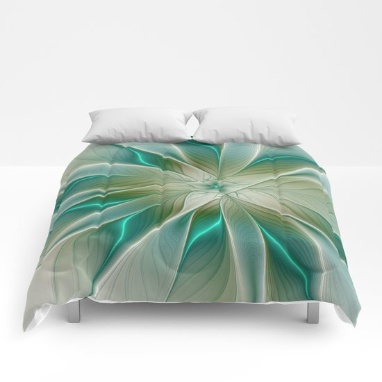 Floral Lights, Abstract Fractal Art Comforters