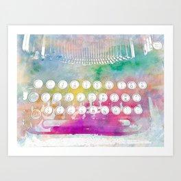 Watercolor typewriter Art Print