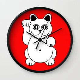 Good Luck White Cat On Red Background Wall Clock