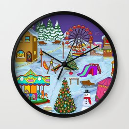 Christmas Fairground Wall Clock
