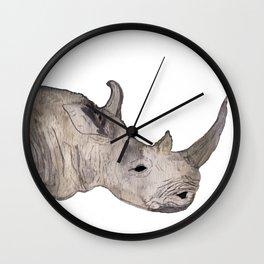 Watercolor Rhino Wall Clock