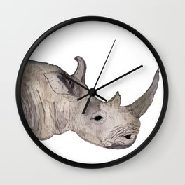 Watercolor Rhino Wall Clock
