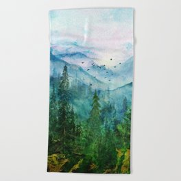 Spring Mountainscape Beach Towel