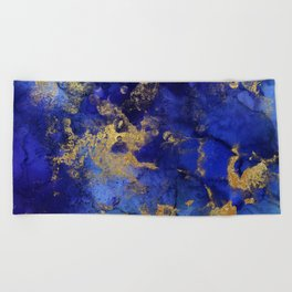 Gold And Blue Indigo Malachite Marble Beach Towel