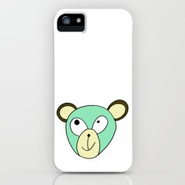 Hand drawn funny face of an animal bear iPhone Case