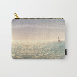 Misty summer day on the sea- a lonely boat Carry-All Pouch