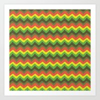 Rasta zigzag seamless pattern from green, orange and yellow brush strokes Art Print