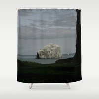 bass Shower Curtains featuring Bass Rock by Emaleighbeth