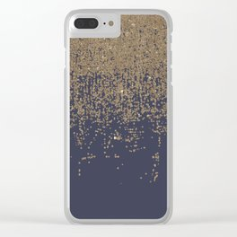 Navy Blue Gold Sparkly Glitter Ombre Clear iPhone Case