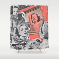 persona Shower Curtains featuring Persona - collage by Deborah Stevenson Collage Art