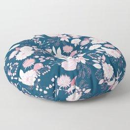 Elegant mauve pink white navy blue rustic floral Floor Pillow