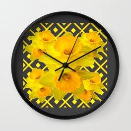 Golden Spring Daffodils Charcoal Grey Art Wall Clock