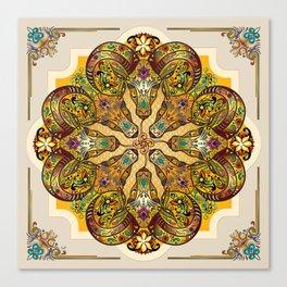 Mandala Sacred Rams - Bright Version Canvas Print