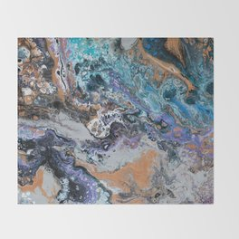 Molten Time (flow art on canvas) Throw Blanket